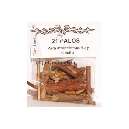 21 PALOS (polvo y astillas ) NO son los palos enteros.