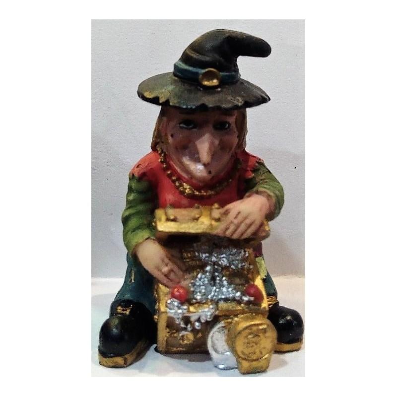BRUJA sentada con cofre de dinero 10 cm alto, en resina