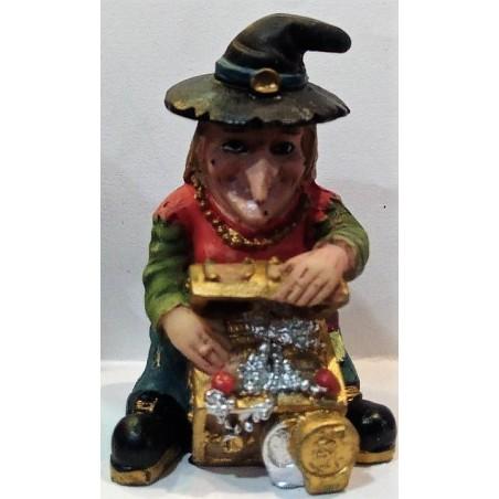 BRUJA sentada con cofre del dinero 10 cm alto, en resina
