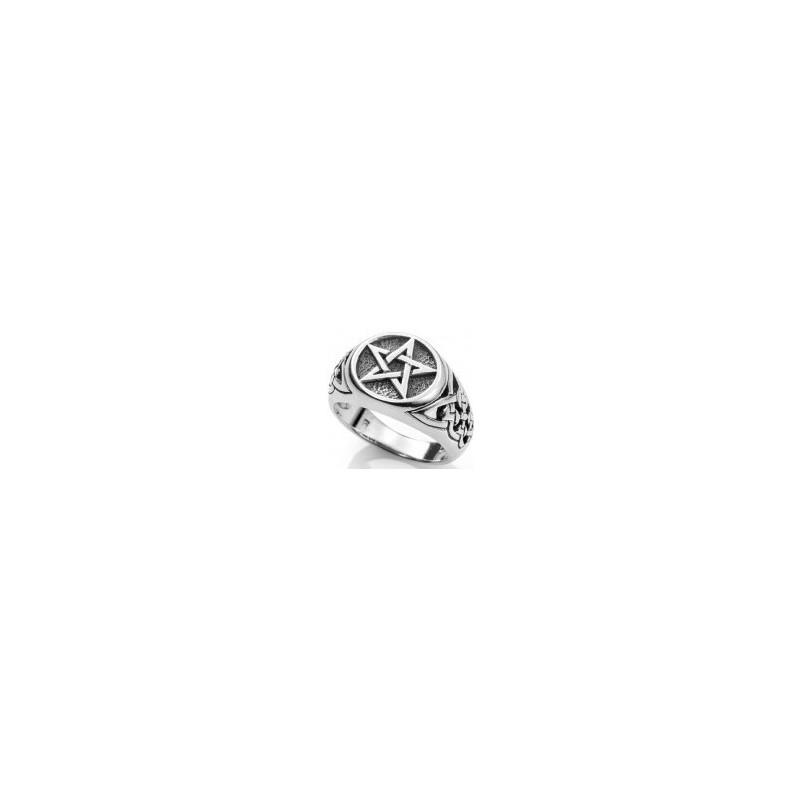 ANILLO Pentagrama wicca PLATA de ley ( fabricado en España )