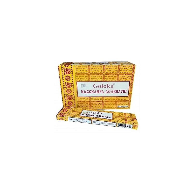 INCIENSOGoloka NAG CHAMPA Caja con 12 paquetes de 15 gm .