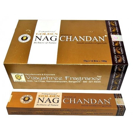 INCIENSO NAG CHANDAN) Caja con 12 paquetes de 15 gm .